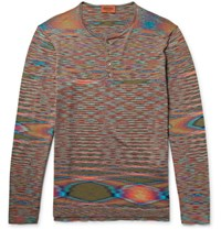 Missoni Space Dyed Knitted Cotton Henley T Shirt Orange