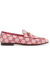 Gucci Jordaan Horsebit Detailed Leather Trimmed Logo Printed Canvas Loafers Red Usd