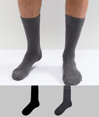 Selected Homme Socks 2 Pack Black Grey Multi