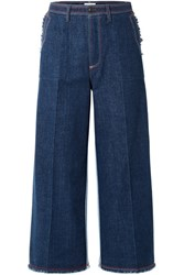 Sonia Rykiel Two Tone Cropped High Rise Wide Leg Jeans Blue