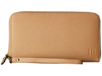 Mighty Purse Saffiano Leather Charging Wallet Tan Wallet Handbags
