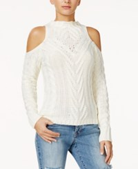 American Rag Cold Shoulder Cable Knit Sweater Only At Macy's Egret