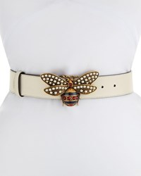 Gucci Queen Margaret Leather Bee Belt White