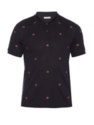 Moncler Logo Embroidered Cotton Pique Polo Shirt Navy
