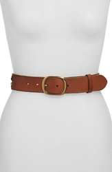 Lucky Brand Beaded Coin Leather Belt Medium Brown