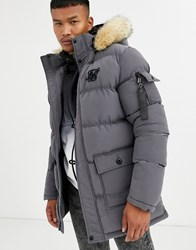 Sik Silk Siksilk Puffer Parka Jacket With Faux Fur Hood In Grey
