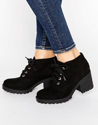 London Rebel Eyelet Lace Up Boots Black Micro