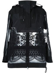 Sacai Tribal Lace Parka Jacket Black