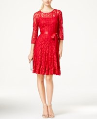 Msk Illusion Floral Lace Dress Red