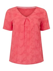 Dash Embroidered Coral Top Pink