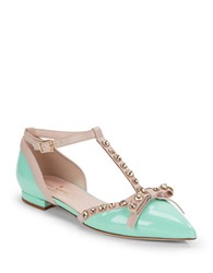 Kate Spade Becca Patent Leather T Strap Flats Mint Green