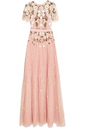 Needle And Thread Lace Trimmed Embellished Tulle Gown Pastel Pink