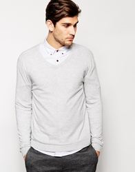 Asos V Neck Jumper In Cotton Lightgrey