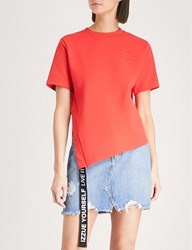 Izzue Slit And Tape Cotton Jersey T Shirt Red