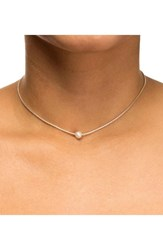 Dogeared Women's Box Chain Pearl Necklace Silver