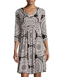 Muse Printed Shirred 3 4 Sleeve Fit And Flare Dress Black White
