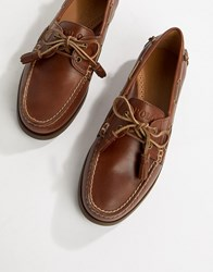 Polo Ralph Lauren Merton Leather Boat Shoes In Tan