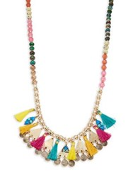 Design Lab Lord And Taylor Embellished Long Tassel Necklace Multi
