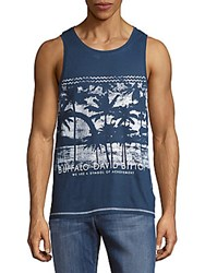 Buffalo David Bitton Neddy Printed Cotton Tank Top Indigo