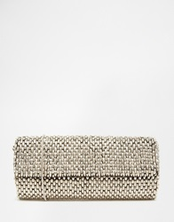 Reiss Souxie Soft Beaded Clutch Bag Silver