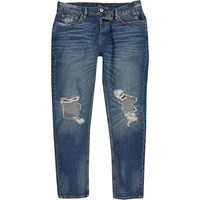 River Island Mens Dark Blue Wash Ripped Jimmy Tapered Jeans