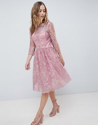 Chi Chi London Premium Embroidered Long Sleeve Midi Dress Dusky Pink