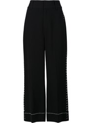 Derek Lam 10 Crosby Wide Legged Cropped Trousers Black