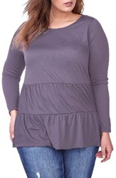 Addition Elle Love And Legend Plus Size Women's Tiered Babydoll Top Purple Sage