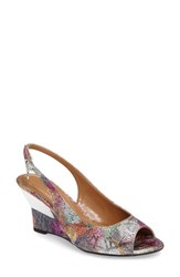 J. Renee Women's Sailaway Wedge Sandal Silver Pastel Multi Fabric