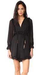 Zimmermann Maples Frill Romper Black Stripe