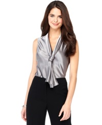 Nine West Top Sleeveless Tie Neck Blouse Platinum