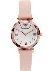 Emporio Armani Gianni Stainless Steel And Tortoise Acetate 32Mm Leather Watch Pink