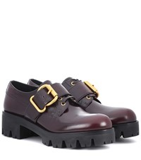 Prada Polished Leather Derby Shoes Brown
