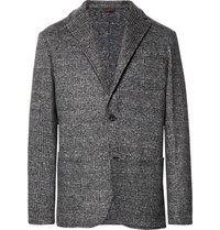 Altea Grey Unstructured Prince Of Wales Checked Woven Blazer Gray