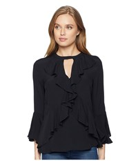 Miss Me Ruffle Front Top Black Clothing