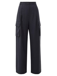 Tibi High Rise Crepe Wide Leg Cargo Trousers Navy