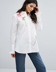 Warehouse Rose Embroidered Shirt White