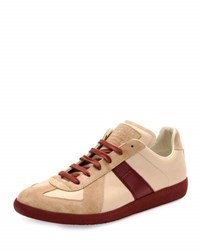 Maison Martin Margiela Replica Low Top Leather And Suede Sneaker Beige Bordeaux