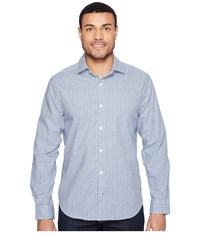 Nautica Long Sleeve Wrinkle Resistant Small Plaid Bright Cobalt Men's Long Sleeve Button Up Blue