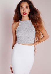Missguided Knit Ribbed Crop Top Grey