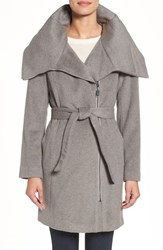Cole Haan Signature Women's Belted Asymmetrical Wool Blend Coat Platinum