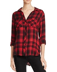 Bella Dahl Two Pocket Plaid Button Down Shirt Red Wine