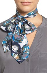 Bcbgeneration Women's Butterfly Bow Tie Scarf Blue Graphite