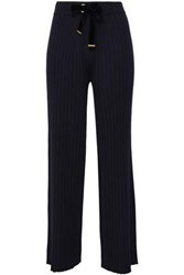 Mother Of Pearl Iona Velvet Trimmed Ribbed Knit Wide Leg Pants Midnight Blue