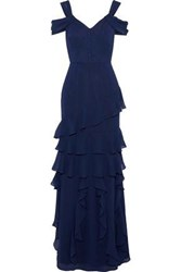 Mikael Aghal Cold Shoulder Tiered Chiffon Gown Navy