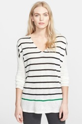 Joie 'Eszter' Stripe Linen V Neck Sweater White