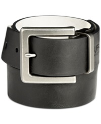 Buffalo David Bitton Milled Nubuck Reversible Belt Black White