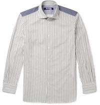 Junya Watanabe Slim Fit Chambray Panelled Striped Cotton Shirt White