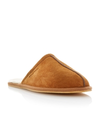 Dune Flintoff Faux Fur Lined Mule Slipper Tan