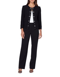 Tahari By Arthur S. Levine Embroidered Center Front Jacket And Pant Suit Black